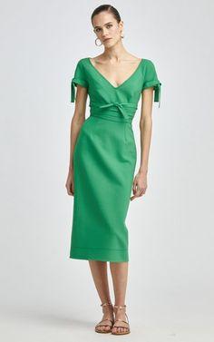 Tie-Detail Wool-Blend Pencil Dress By Oscar De La Renta   Moda Operandi