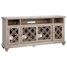 The Modern Media collection by Steinworld brings elegance and function to classic vintage finishes. Detailed fretwork on doors can be backed by your choice of glass or speaker cloth (included) and all feature three adjustable shelves. These charming pieces are available in two sizes and two finishes. Choose from gray-blue or antique white in 64 or 72-inch sizes. It's time to upgrade your media room with the Modern Media collection.
