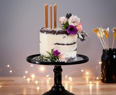 Cake layers in their (almost) full glory, our semi-naked cake boasts confidence making a delicious and somewhat mysterious statement Black Cake Stand, Naked Cakes, Light Cakes, Birthday Cake With Candles, Garden Birthday, Childrens Party, Dessert Recipes, Desserts, Happy Friday