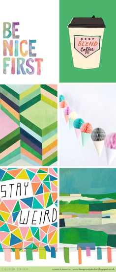 Todays colour crush post is a little celebration for green.   I love the combo of mint, lime, teals and grass greens with the pinks, blues ...