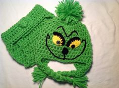 FREE SHIPPING - Christmas Baby Crochet Hat and Diaper Cover: The Grinch on Etsy, $30.00