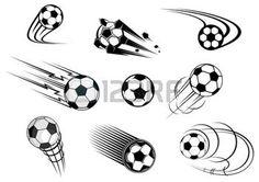 soccer logo: Fflying soccer balls set with motion trails for sports emblem and logo design