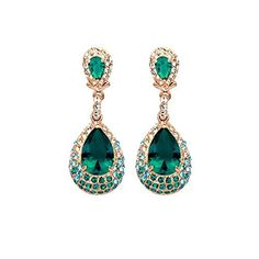 Gold Tone Teardrop Emerald Green Swarovski Elements with Cubic Zirconia Crystal Dangle Earrings Jewelry by Gift for Girls -- Awesome products selected by Anna Churchill