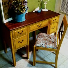 Anthropologie style vanity/desk! Yay for yellow!!