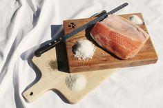 Ingredientes salmón marinado casero.