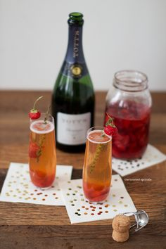 Roasted strawberry champagne cocktails with honey-thyme syrup