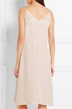 Prada - Ruffled Chantilly Lace-trimmed Silk Crepe De Chine Dress - Neutral - IT38
