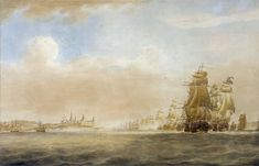 The British Fleet off Kronborg Castle, Elsinore, 28 March 1801 [before the Battle of Copenhagen] - National Maritime Museum Pocock, Nicholas 1810