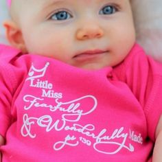 Little Miss Fearfully and Wonderfully Made Baby T shirt Hot Pink | Baby and Toddler T shirts Christian Wall Decals Cute Kiss, Christian Wall Decals, How To Make Tshirts, Christian Shirts, Little Miss, Hot Pink, Nursery Ideas, Kisses, Raising