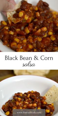 Black Bean & Corn Salsa- Looking for something delicious to dip your tortilla chips in? Try this amazing black bean and corn salsa, a mild salsa full of delicious, rip tomatoes, corn, black beans, and peppers.