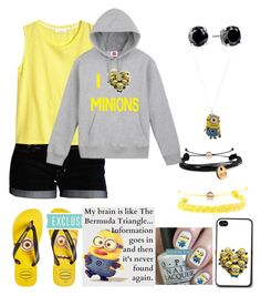 Minion Mania by the-kind-one on Polyvore featuring polyvore, fashion, style, H&M, Dex, Havaianas, Domo Beads and CZ by Kenneth Jay Lane