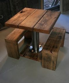 Intimate Tasmanian Oak Table & Stool Set made using Tasmanian Oak frame (weather and termite evidence) and salvaged stainless steel security bollard