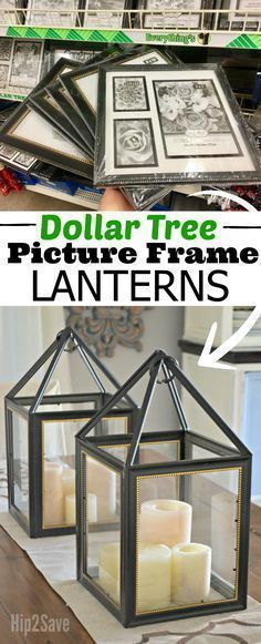 Dollar Store Frames Into a Trendy Decorative Lantern! Here's how to turn Dollar Tree picture frames into one trendy farmhouse style lantern!Here's how to turn Dollar Tree picture frames into one trendy farmhouse style lantern! Pot Mason Diy, Mason Jar Crafts, Bottle Crafts, Dollar Tree Decor, Dollar Tree Crafts, Dollar Tree Candles, Dollar Tree Christmas, Dollar Tree Cricut, Dollar Tree Flowers