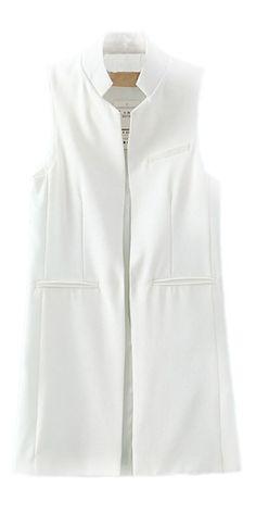 05b55447ad1059 Women Solid Mandarin Collar Sleeveless Slim Waistcoat Long Suit Vest at  Amazon Women's Clothing store: