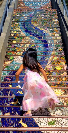 "touchn2btouched: "" Girl runs up San Francisco's 16th Avenue Tiled Steps """