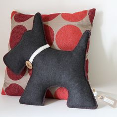 Scottie Dog Cushion Hand Embroidered