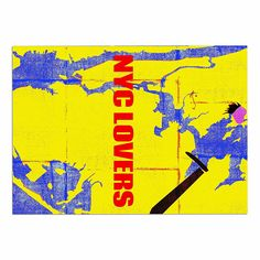 KESS InHouse Lazar Milanovic 'NYC lovers ' Red Yellow Dog Place Mat, 13' x 18' * To view further, visit now