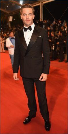 May 2016: Donning a Giorgio Armani Made to Measure tuxedo, Chris Pine hits the red carpet for the premiere of Hands of Stone during the Cannes Film Festival.