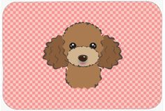Checkerboard Pink Chocolate Brown Poodle Mouse Pad - Hot Pad or Trivet BB1256MP #artwork #artworks
