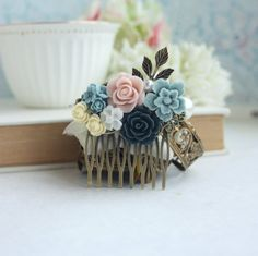 Bridal Wedding Comb Powder Blue Baby Pink Navy Blue por Marolsha
