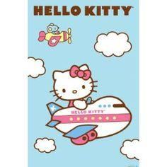 """Hello Kitty airplane poster print, 24"""" x 36"""""""