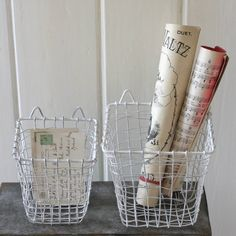Set Of Two White Wire Storage Boxes Wire Storage, Storage Boxes, Country Shop, Downstairs Bathroom, Baskets On Wall, Scandinavian Style, White Walls, Contemporary, Bedroom