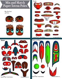 These free paper totem poles would make a great addition to your Native American lesson plan.  They print out in black and white so that ...