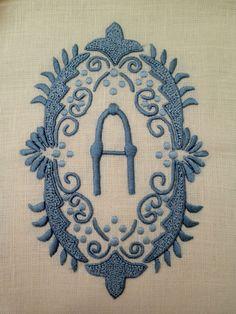 Julia B. A28 Medallion French blue on ecru linen