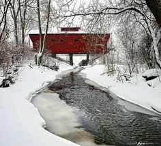 Wisconsin covered bridge - beautiful in the snow. If you like to take winter scenery photos or just play in the powder check out the Wisconsin snow report: http://9nl.be/WISnowReport