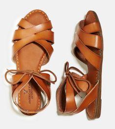 AE Tie Front Wedge Sandal in Tan