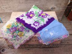 SOLD!! Vintage Hankies-Set of 3-Purple/Blue by CoffeeCreekVintage on Etsy