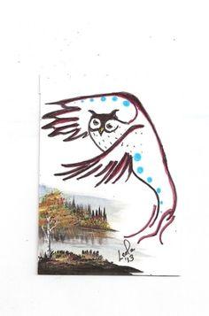 ACEO Owl Bird Native Aboriginal Abstract Walker EBSQ Caat SFA Art Painting | eBay