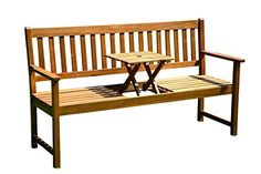 Brema 054040 Parkbank France 3-Sitzer Akazienholz FSC 100% mit klappbarem Mitteltisch, 040 Brema