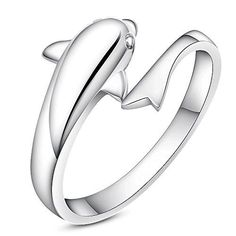.925 Sterling Silver Dolphin Ring - Size 1-10 Adjustable *** Quickly view this special  product, click the image   Jewelry Rings