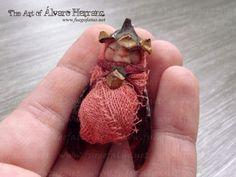 Winged baby pine faerie - fantasy ooak art doll fairy baby.