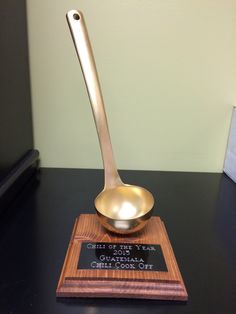 Chili Cook Off trophy - The Golden Ladle Diy Trophy, Chili Party, Chili Cook Off, Harvest Party, Fall Fest, Date Dinner, Fun At Work, Fundraising, Event Planning