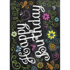 Happy Birthday Chalkboard effect Card http://www.graphiquedefrance.com/greeting-cards/chalkboard-thank-you-with-flows-are-swirls/p-61487.htm