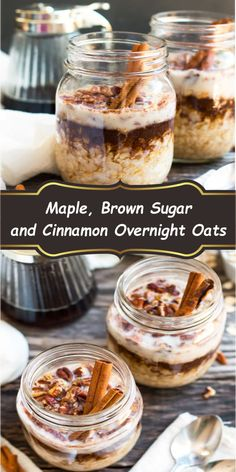 A super simple and easy way to make Maple, Brown Sugar and Cinnamon Overnight Oats in a jar! Fill your mason jar with rolled oats, maple syrup, cinnamon and milk and wake up to a quick and healthy gluten-free breakfast. Matcha Overnight Oats, Overnight Oats Chocolate, Overnight Oats In A Jar, Low Calorie Overnight Oats, Best Overnight Oats Recipe, Overnight Oats Almond Milk, Mason Jar Meals, Oats Recipes, Breakfast Recipes
