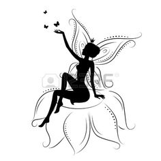 Illustration of Beautiful fairy. Silhouette of a fairy on flowers with butterfly. Vector illustration isolated on white background. Fairy Silhouette, Wedding Silhouette, Silhouette Images, Free Silhouette, Black Silhouette, Silhouette Portrait, Ballerina Coloring Pages, Image Mandala, African American Figurines