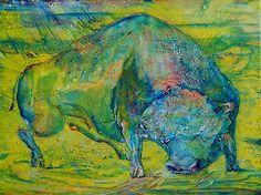 """""""blue irritation"""", 2011,tendenz symbolizmus,   mixmedia: oil, tempera of canvas, 30x40cm"""