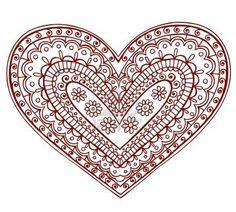 Hand-Drawn Heart Henna (mehndi) Paisley Doodle Illustration Design Element Stock Photo
