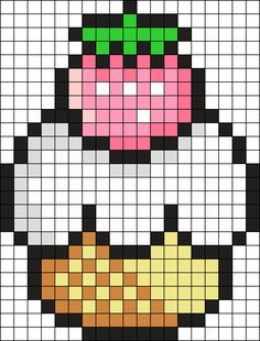 Strawberry Cake Perler Bead Pattern / Bead Sprite