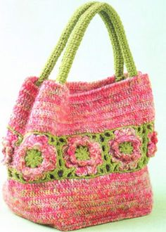 crochet purse, really like the use of granny squares in the middle  via/Nicole de Boer