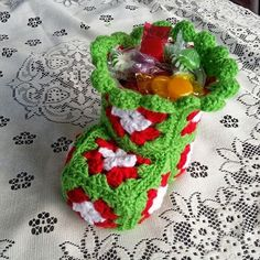 24 Foot Street: Crochet Christmas Bootie Candy Dish