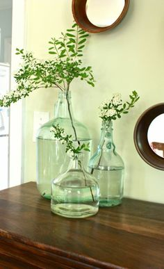 Antique Vintage Decor These glass jugs look really nice like this. I may have to accumulate some. - Antique and vintage glassware can bring a little extra charm to any corner of your home Decor, Jug Decor, Glass Jug, Vase, Home Deco, Green Glass, Glass, Glass Jugs Decor, Vases Decor