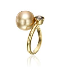 Luminous Cognac Hued Pearl & Diamond Set in Gleaming 18k Yellow Gold. www.yvel.com