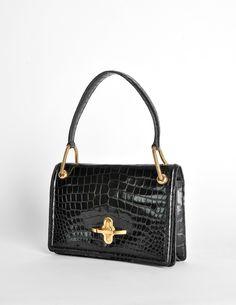 ea87a35e55de Hermès Vintage 1960s Black Crocodile Skin Handbag - from Amarcord Vintage  Fashion Black Handbags, Vintage