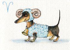 "Photo from album ""Веселый гороскоп on Yandex. Dachshund Funny, Dachshund Art, Scottish Terrier, Delphine, Weenie Dogs, Most Popular Dog Breeds, Otter, Cute Illustration, Illustrations"