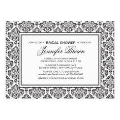 5f23425d389 Black Damask Bridal Shower Personalized Invitations Bridal Shower  Invitation Wording