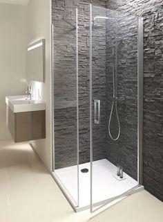 Paroi de douche avec porte pivotante